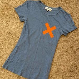 Wildfox: X My Heart/Cross My Heart Tee, Blue, XS